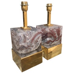 Pair of Solid Murano Glass Agate Color Cube Lamps with Brass Base, Italy, 2019