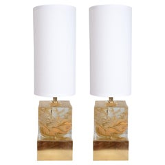 Pair of Solid Murano Glass Amber Color Cube Lamps with Brass Base, Italy, 2019