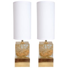 Pair of Solid Murano Glass Gold Swirl Cube Lamps with Brass Base, Italy, 2019