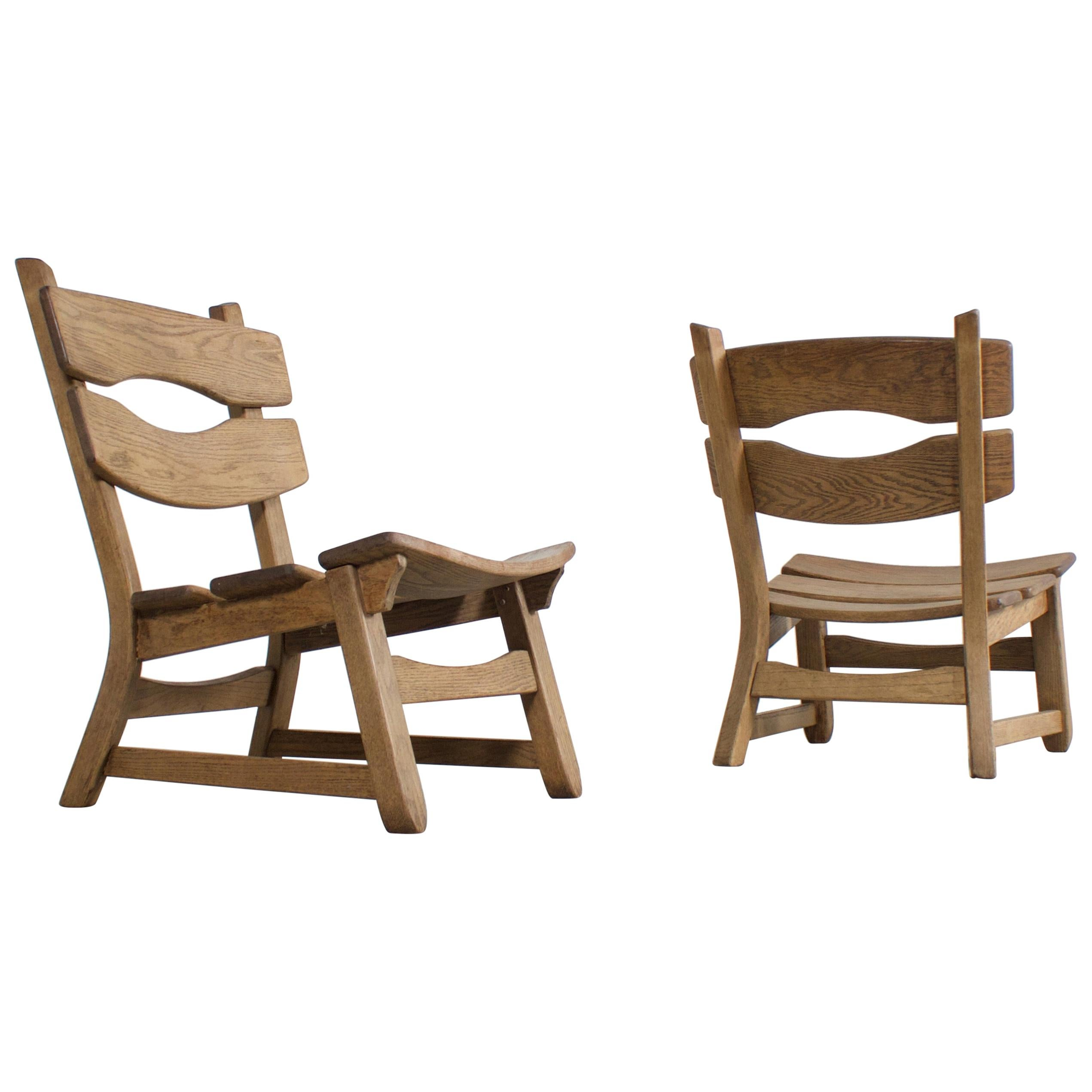 Pair of Solid Oak Brutalist Lounge Chairs, France, 1960s