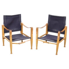 Pair of Solid Oak Framed Safari Chairs Designed by Kaare Klint, Denmark