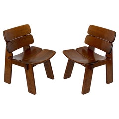 Pair of Solid Oak French Constructivist Occasional Lounge Chairs