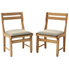 Pair of Solid Oak Guillerme & Chambron Chairs, France, 1970s