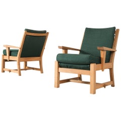 Pair of Solid Oak Lounge Chairs with Green Fabric Upholstery