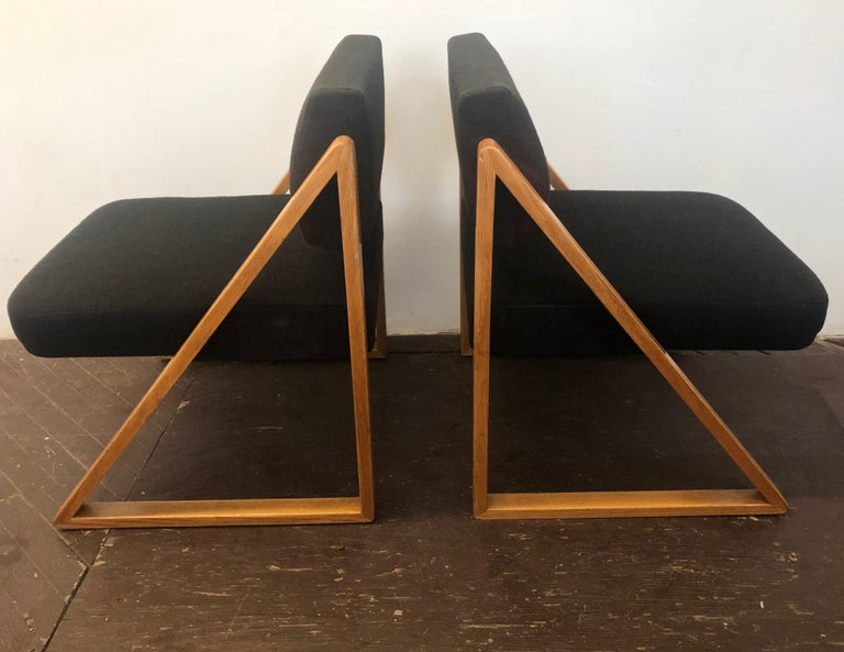 Pair of Solid Oak Lounge Chairs, France, circa 1965 For Sale 6