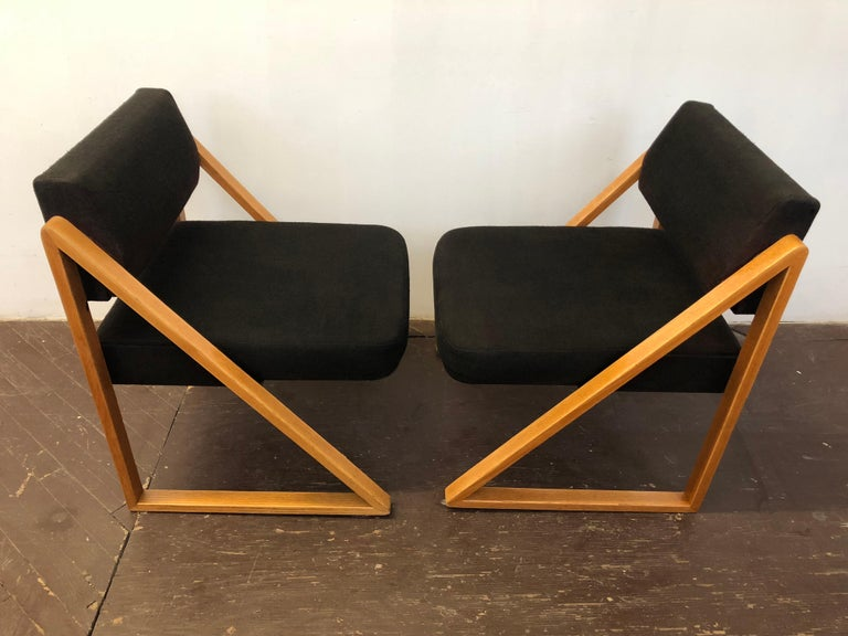 Pair of Solid Oak Lounge Chairs, France, circa 1965 For Sale 1