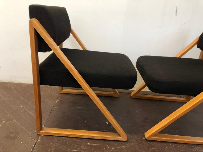 Pair of Solid Oak Lounge Chairs, France, circa 1965 For Sale 2