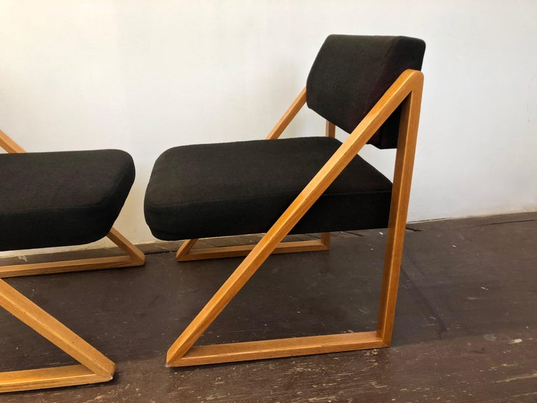Pair of Solid Oak Lounge Chairs, France, circa 1965 For Sale 3