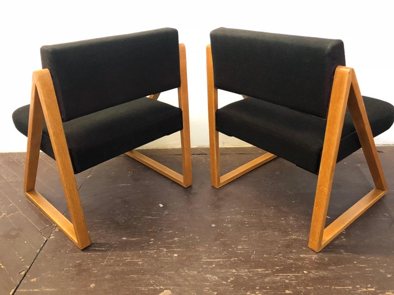 Pair of Solid Oak Lounge Chairs, France, circa 1965 For Sale 5