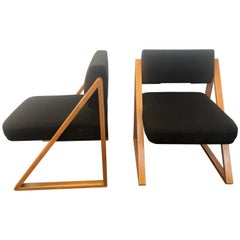 Pair of Solid Oak Lounge / Side Chairs, France, circa 1965