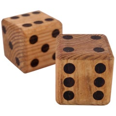 Pair of Solid Oak Mid-Century Modern Dice Bookends