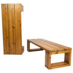 Pair of Solid Pine Benches, Sweden, 1960s