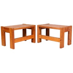 Pair of Solid Pine Side Tables / Benches, Sweden, 1970s