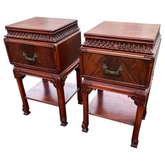 Pair of Solid Rosewood Chinese Chippendale Nightstands Tables or Cabinets