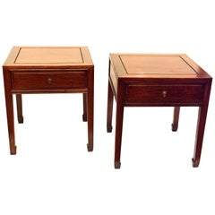 Pair of Solid Rosewood Chinese End Tables / Nightstands