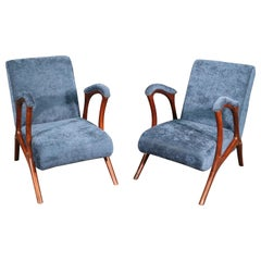 Pair of Solid Rosewood Italian Gio Ponti Style Mid-Century Modern Club Chairs