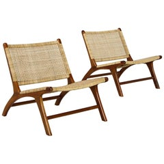 Pair of Solid Teak and Cane Lounge Chairs, Brazilian & Midcentury Style, Modern
