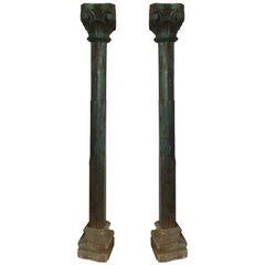 Pair of Solid Teak Columns on Stone Bases with Original Paint, Late 19th Century