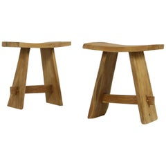 Pair of Solid Teak Curved Butterfly Stools, Japan Style, Modern Organic Shape