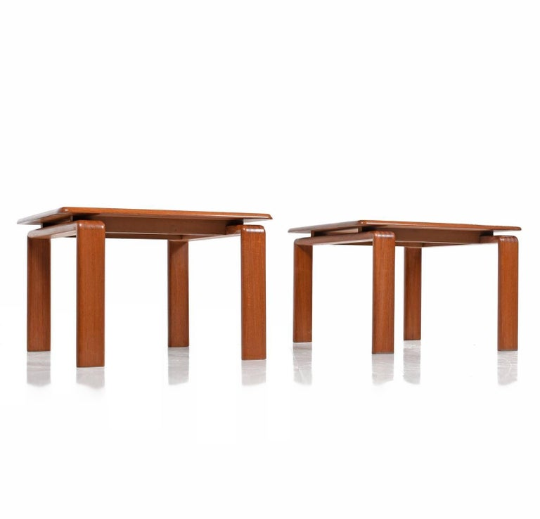 Modern Pair Of Lamp Table Bedside End Side Tables Solid: Pair Of Solid Teak Danish Modern Floating Top End Tables