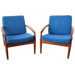 Pair of Solid Teak 'Paper Knife' Lounge Chairs by Kai Kristiansen, 1955