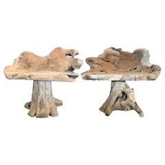 Pair of Solid Teak Root Chairs