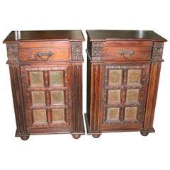 Pair of Solid Teak Wood Nightstands Using 1820s Heavily Fortified Doors