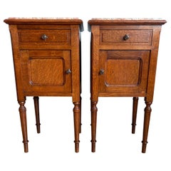 Pair of Solid Tiger Oak Dutch Arts & Crafts Bedside Cabinets w. Marble Tops 1900
