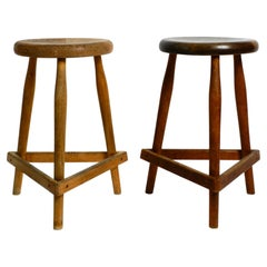 Pair of Solid Tripod Mid Century Stools or Bar Stools with Footrests