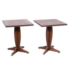 Pair of Solid Walnut and Brass French Art Deco Period Square Bistro Tables