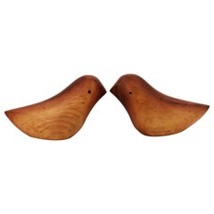 Pair of Solid Walnut Hand Carved Midcentury Love Birds Salt and Pepper Shakers