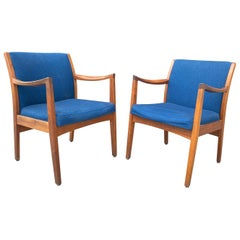 Pair of Solid Walnut Modernist Lounge Chairs by Gunlocke Chair Co.