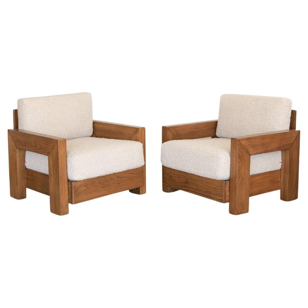 Pair of Solid Wood Club Chairs