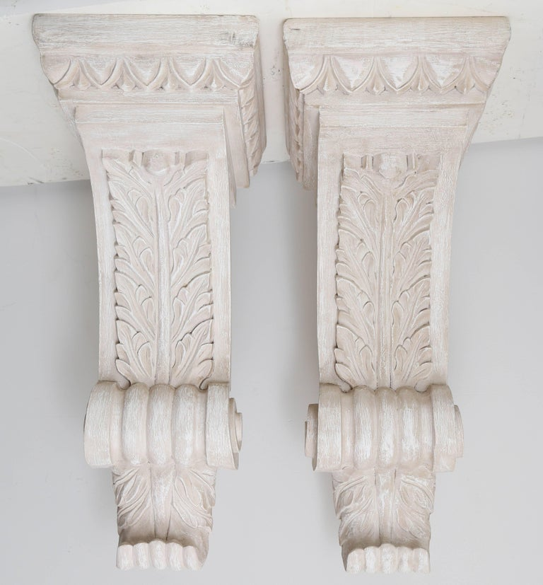 Pair of Solid Wood Corbels In Good Condition In West Palm Beach, FL