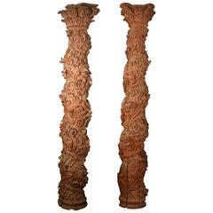 Pair of Solomonic Columns, Pinewood, 17th Century