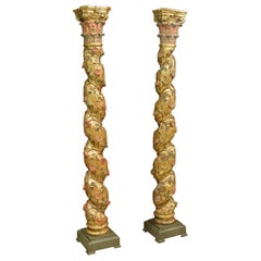 Pair of Solomonic Columns, Polychromed and Gilded Wood, 17th Century