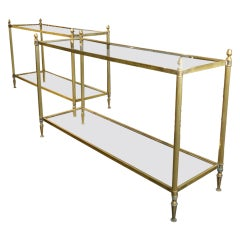 Pair of Sophisticated French Brass and Glass Console Tables