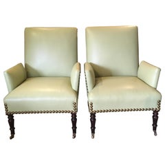 Pair of Sophisticated Luscious Lime Green Leather George Smith Club Chairs