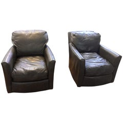 Pair of Sophisticated Supple Brownish Grey Leather Swivel Club Chairs