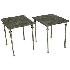 Pair of Sorgue Side Tables, White Bronze, by Bourgeois Boheme Atelier