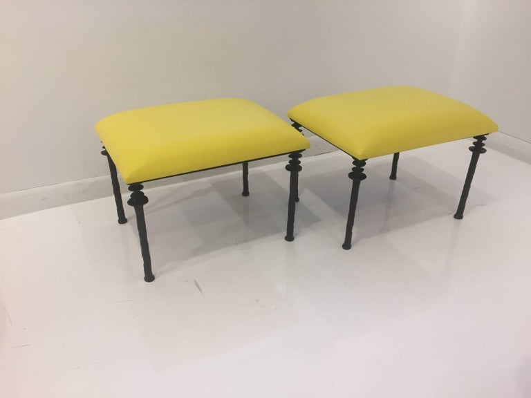 Pair of Sorgue Stools by Bourgeois Boheme Atelier In Excellent Condition For Sale In Los Angeles, CA