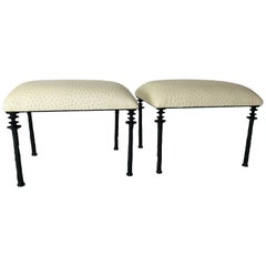 Pair of Sorgue Stools, by Bourgeois Boheme Atelier, Tan Ostrich Leather