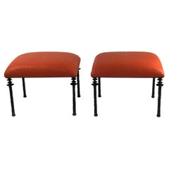 Pair of Sorgue Stools, by Bourgeois Boheme Atelier, Tangerine Ostrich Leather