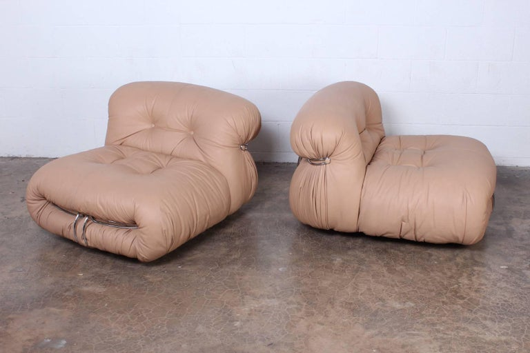 A pair of Soriana lounge chairs designed by Tobia and Afra Scarpa for Cassina in original leather.