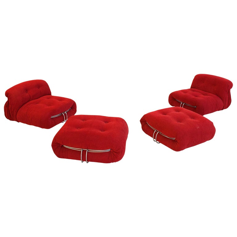 """Pair of """"Soriana"""" Slipper Chairs and Ottomans by Tobia Scarpa, circa 1970, Italy For Sale"""