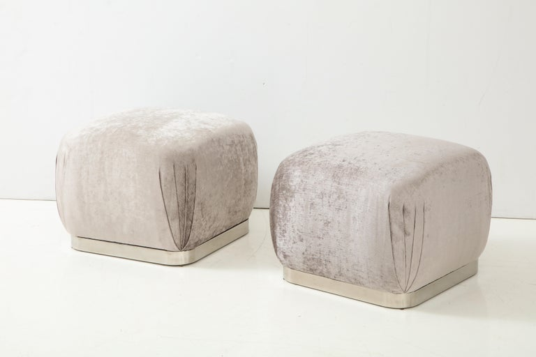 American Pair of Souffle Ottomans or Poufs by Karl Springer For Sale