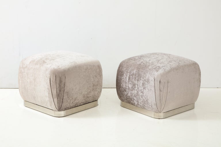 Pair of Souffle Ottomans or Poufs by Karl Springer In Excellent Condition For Sale In New York, NY
