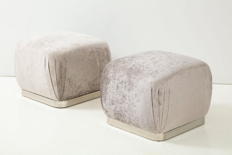 Late 20th Century Pair of Souffle Ottomans or Poufs by Karl Springer For Sale