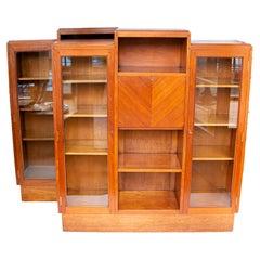 Pair of South African, Art Deco Teak Secretaire Bookcases