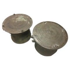Pair of South Asian Bronze Rain Drum Tables